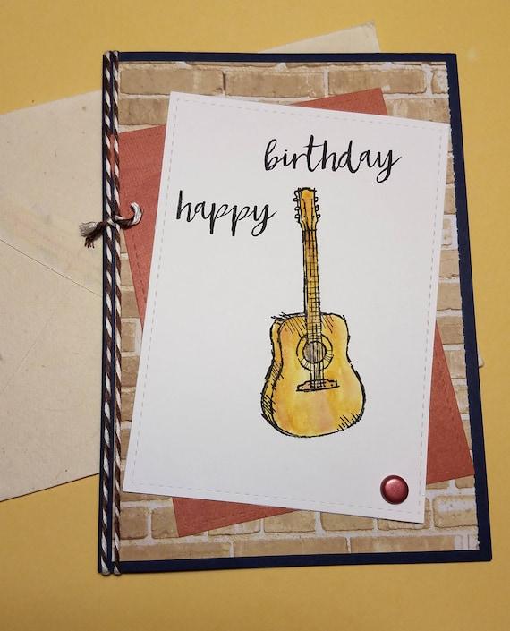 Happy Birthday Greeting Card Guitar Card Masculine Birthday Etsy
