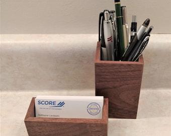 Genuine Olive Wood Business and Pen Card Holder