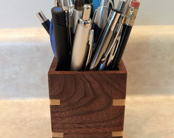 Pencil holder, desk companion, wood, walnut, ash