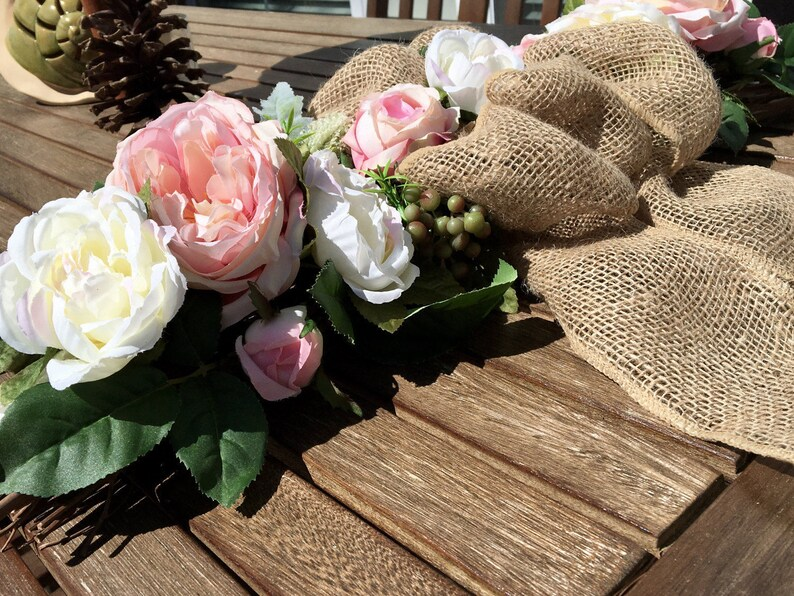 vintage decor shabby chic floral Vintage Floral Wall Decor  pink and ivory peonies floral wreath shabby chic decor floral decor