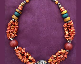 Antique Berber Necklace with Orange Coral