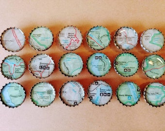North Cascades Map Magnets - Set of 6 - Bottle Cap Magnets -Washington State - PNW Magnets