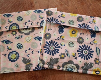 Upcycled Reusable Snack Bags | Made with Plastic Shopping Bags | Set of 2 | Pink & Blue Floral