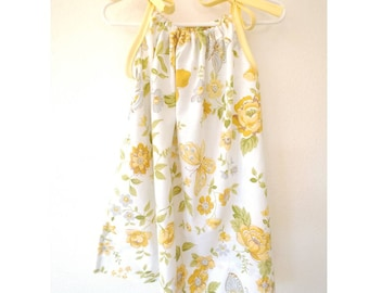 Upcycled Toddler Floral Pillowcase Dress - Size 2T