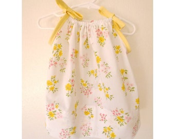Baby Girls' Upcycled Floral Pillowcase Dress - Size 6-12 Months