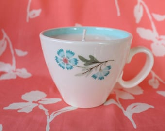 Blue and Pink Floral Cup Soy Candle - Spearmint