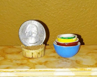 1:12 Scale Antique-look Ceramic Nesting Bowls for Dollhouse - Set of 4