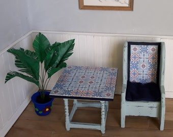 1:12 Dollhouse sunroom set with tile-topped table, chair and parlor palm
