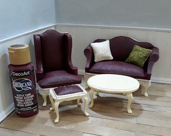 1:12 scale dollhouse elegant cranberry wine Victorian living room set