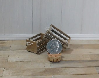 Dollhouse miniature set of two rustic wooden aged crates