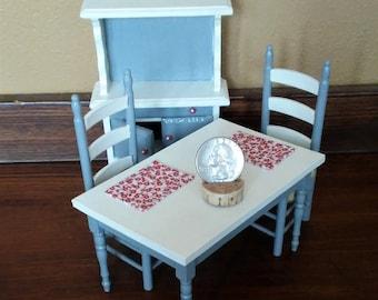 1:12 Dollhouse Scale Custom 2 Tone Farmhouse Kitchen Dining Room Set