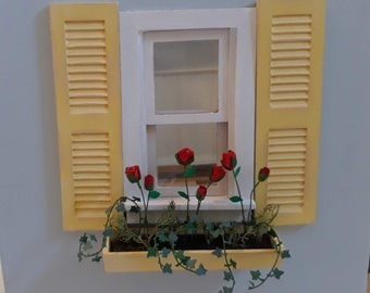 1:12 Dollhouse hand crafted shutters and window box with roses and ivy