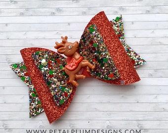 Red reindeer hair bow