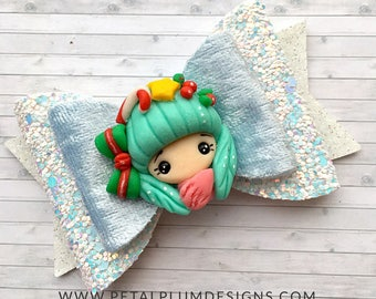 Winter girl hair bow