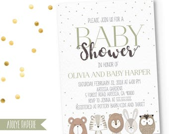 Woodland invitation baby shower, Fall Baby Shower Invitation, boy baby Shower invitation, Forest Animals, Gender Neutral, bear,rabbit,owl