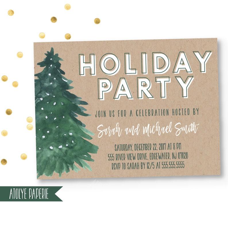 photo regarding Printable Christmas Invitations identify Xmas Bash Invitation, Trip Occasion Invite, Printable Xmas Celebration template, Merry small Xmas Invitation, Kraft, wintertime, tree