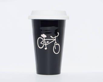Sandblasted Ceramic Bicycle Mug (double walled)