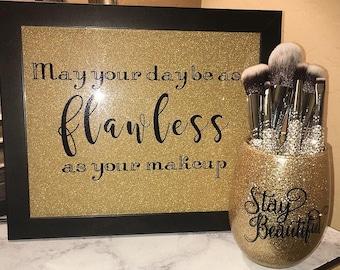 Glitter makeup brush holder