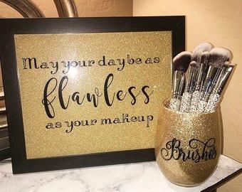 Glitter make up brush holder