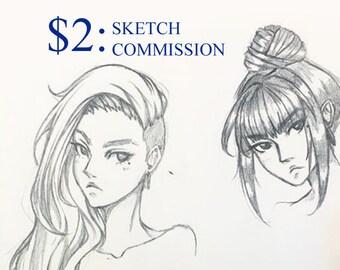 Custom Cheap Pencil Portrait Anime Manga Fanart Original Character Oc Emergency Sketch Commission