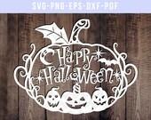 pumpkin svg cutting file, fall svg, trick or treat cut files, halloween svg, pumpkin clipart, spooky silhouette cameo, cricut, dxf, eps, png