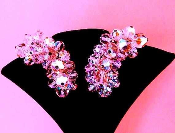 Pink Earrings,Vintage Crystal Bead Earrings,LAGUNA