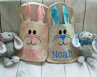 Bunny Ear Bag and Bunny Plush Set, Easter Bag, Easter Bunny Bag Set, Easter Bunny Plush, Kids Easter Gift, Bunny Ear Bag and Plush Set
