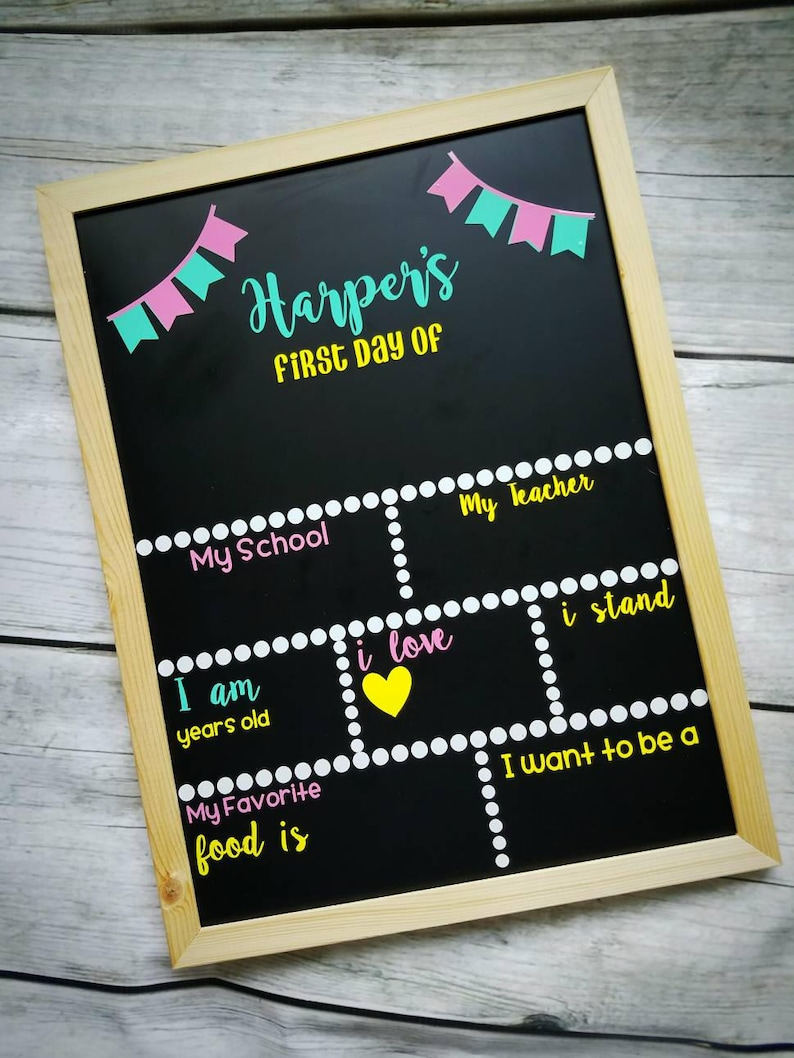 Reusable Back to School Chalkboard, First Day of School sign, Chalkboard  with Blanks first day chalkboard, back to school chalkboard