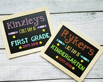 Back to School Chalkboards, First Day of School sign, last day of school sign, double sided sign, first day chalkboard, last day chalkboard