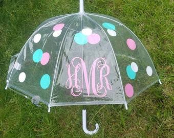 Monogram Umbrella, Clear Dome Umbrella, Children's Umbrella, kids gift, polka dot umbrella, custom umbrella, kids umbrella, girls birthday