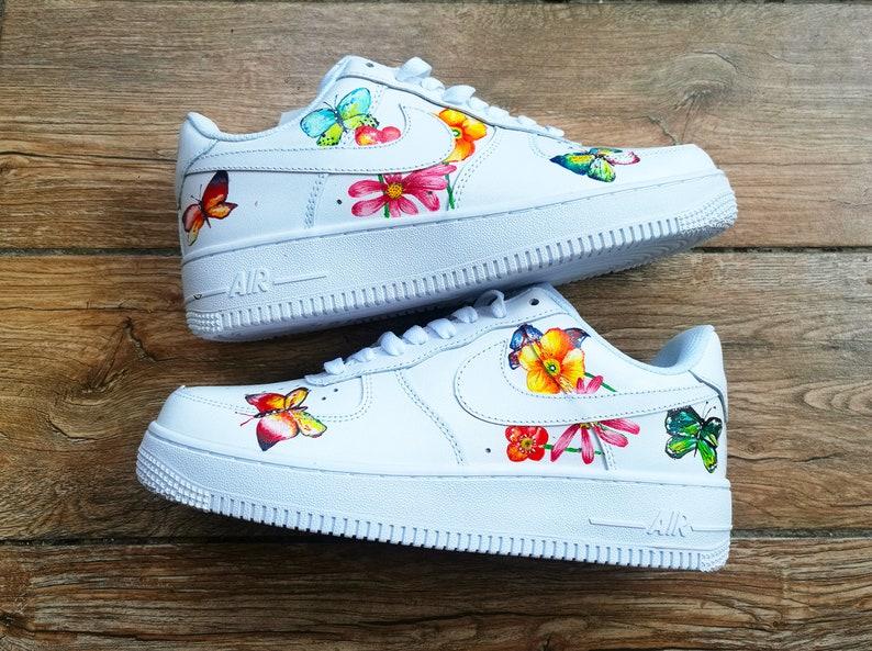 Custom Air Force 1 For Men Women Custom Nike Butterfly Shoes Custom Sneakers Flower Style