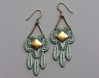 Art Nouveau Earrings / Mint And Gold / Unique Jewelry For Women / Chandelier, Dangle, Lace, Romantic Gift