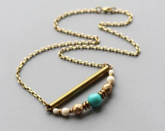 Unique Necklace For Women / White, Turquoise, Gold Beads With Brass Bar