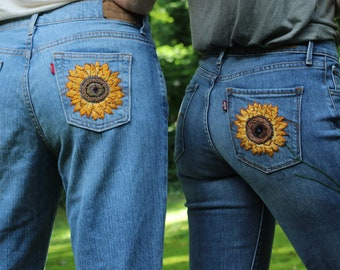 CUSTOM hand-embroidered jean pocket