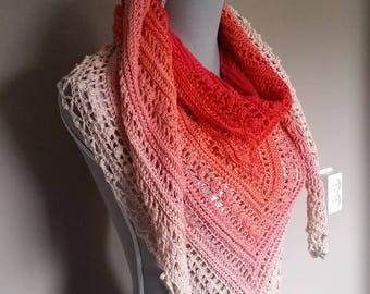 Crocheted ' secret paths' shawl, wrap, scarf