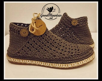Summer Booties - Handcrafted Crochet Shoes. Booties Hand knitted & Hand stiched. @goosemountaincrafts