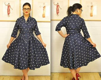 1950's/60's Navy Blue Polka Dot Taffeta Fit and Flare Dress / Rare Collectable Retro