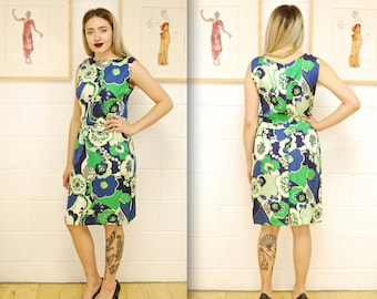6c3a5793bc8 1960 s Green and Blue Floral Summer Garden Party Dress   Marjorie Hamilton    Wiggle Dress   Rockabilly   Pin-up   Rare Collectable Retro