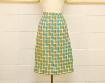 1950's/60's Teal and Cream Geometric Pencil Skirt / Winter Skirt / Mad Men / Rare Collectable Retro