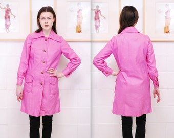 1960s Soft Sage Mid Century Modern Versatile Box Swing Trench Coat with Front Pockets Lapel Collar Boho Folk Classy Convertible Coat Jacket