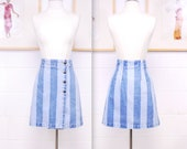 1980 39 s 90 39 s PARIS SPORT CLUB Striped Two Tone Acid Wash Denim Mini Skirt Rare Collectable Retro Curiosity Inc
