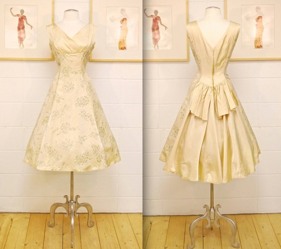 1950's60's Champagne Satin Evening Dress with Floral Detail Cocktail Dress Party Dress Prom Dress Mad Men Rare Collectable Retro