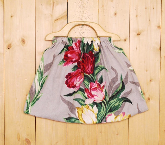 1960's/70's Floral Print Barkcloth Bag / Barkcloth