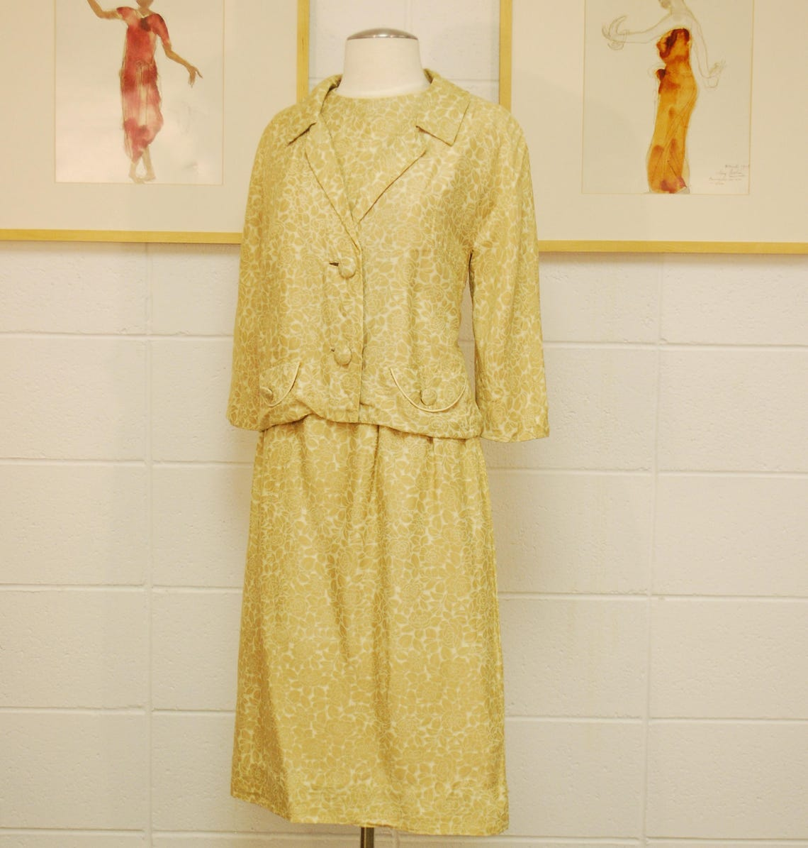 1950's/60's Tan Floral Silk Jacket and Dress Set / For