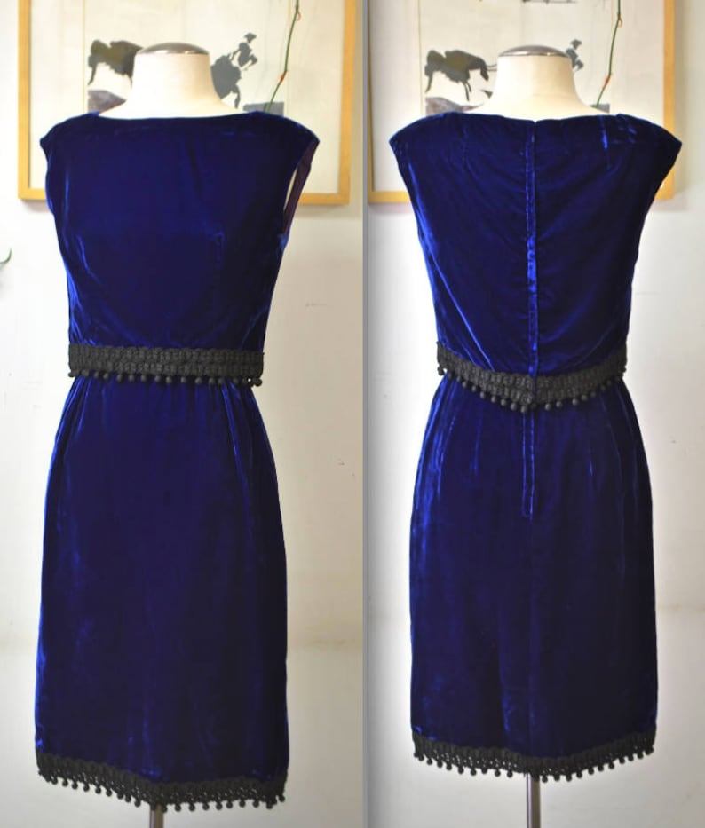 8bc6e2b8193 1950 s 60 s Royal Blue Velvet 2 Pc Dress   Top Set