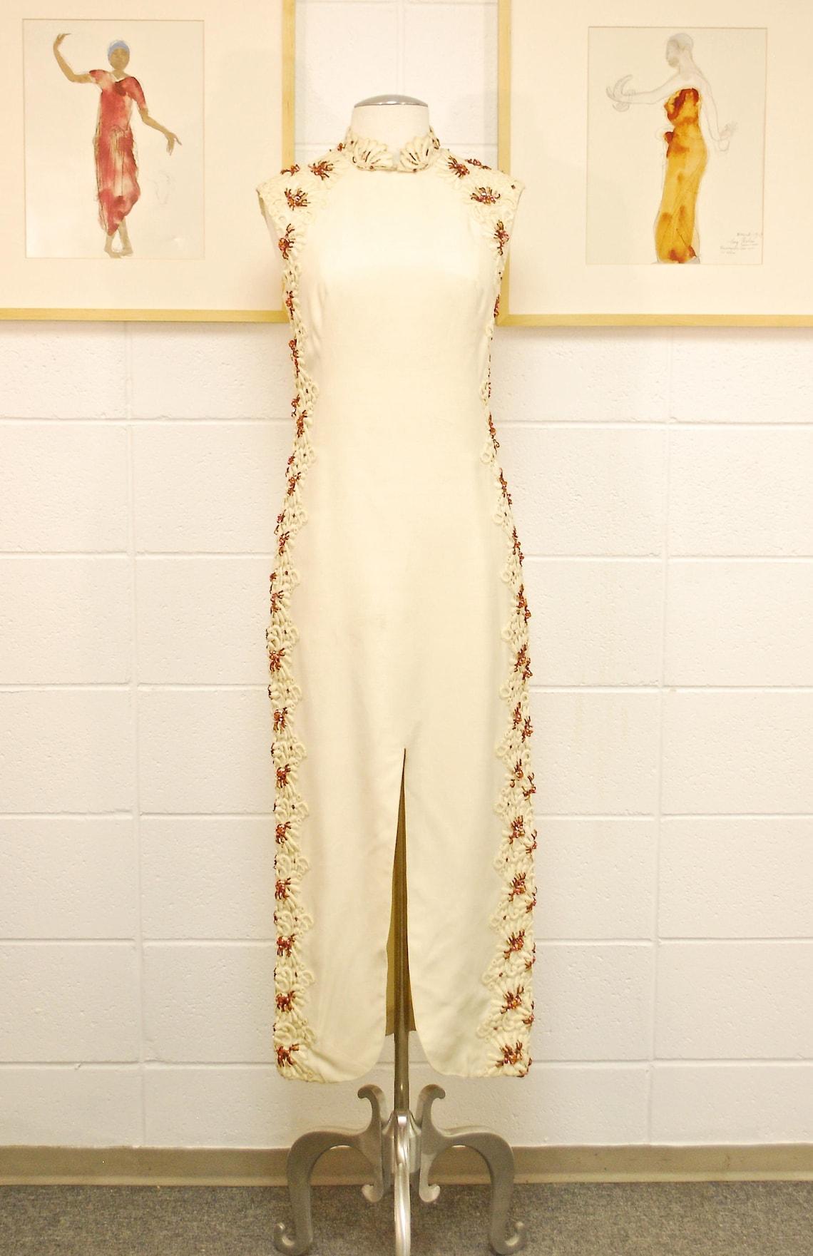 1950's/60's Beige Full Length Evening Dress / Beaded