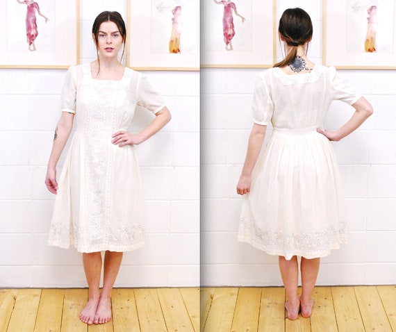 1920's/30's White Cotton/Linen Embroidered Dress /