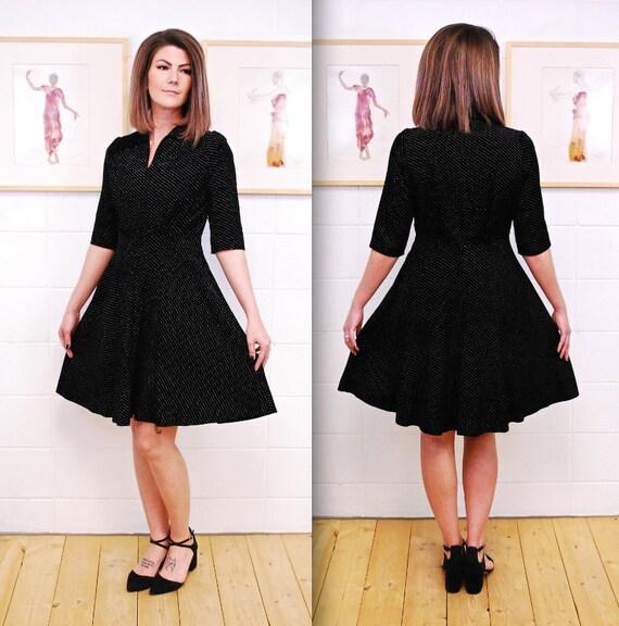 1950's/60's Black Velvet Party Dress with Polka Do