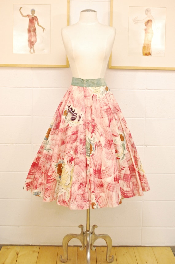 1940's/50's Mexican Hand Painted Wrap Circle Skirt