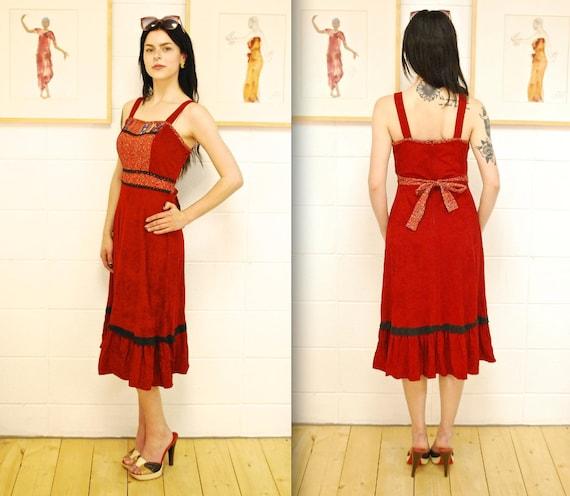 1970's Burgandy Peasant Summer Dress / Sun Dress /